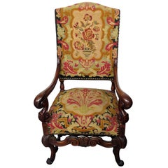 Carved Walnut French Louis XV Style Needlepoint Armchair