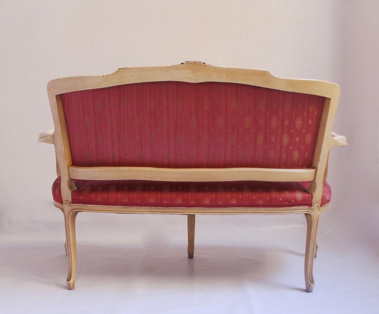 Midcentury Louis XV Style Neoclassical Hollywood Regency, Settee & Chairs, 1950s For Sale 3