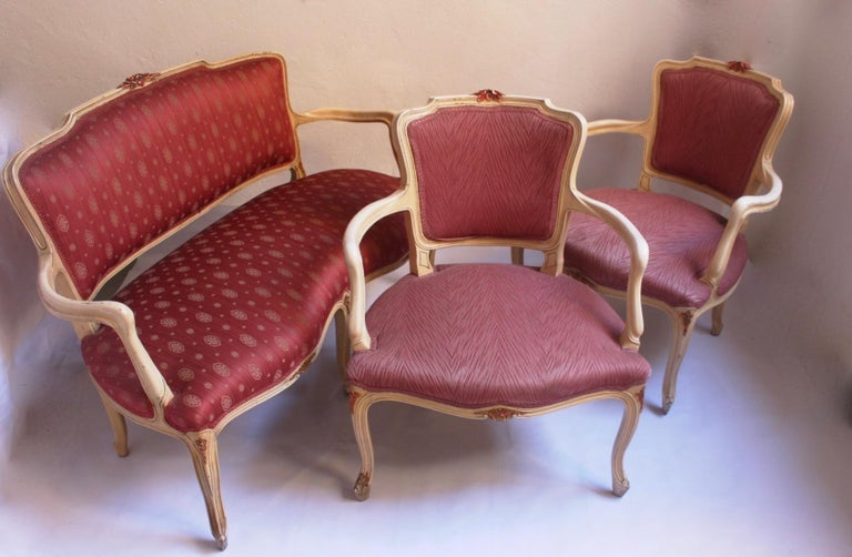 Midcentury Louis XV Style Neoclassical Hollywood Regency, Settee & Chairs, 1950s For Sale 7