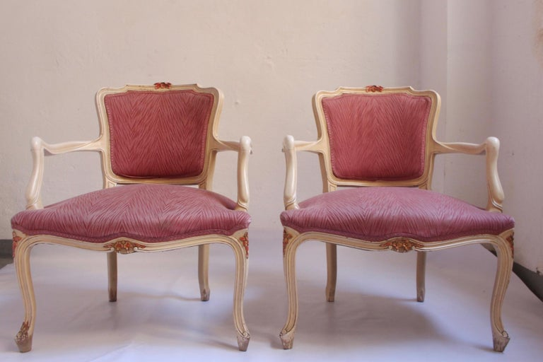 Midcentury Louis XV Style Neoclassical Hollywood Regency, Settee & Chairs, 1950s For Sale 8