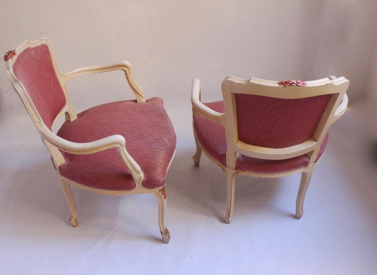 Midcentury Louis XV Style Neoclassical Hollywood Regency, Settee & Chairs, 1950s For Sale 9