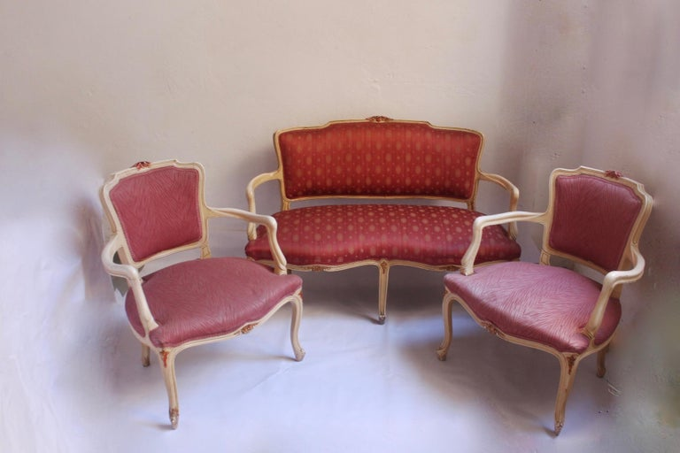 Midcentury Louis XV Style Neoclassical Hollywood Regency, Settee & Chairs, 1950s For Sale 10