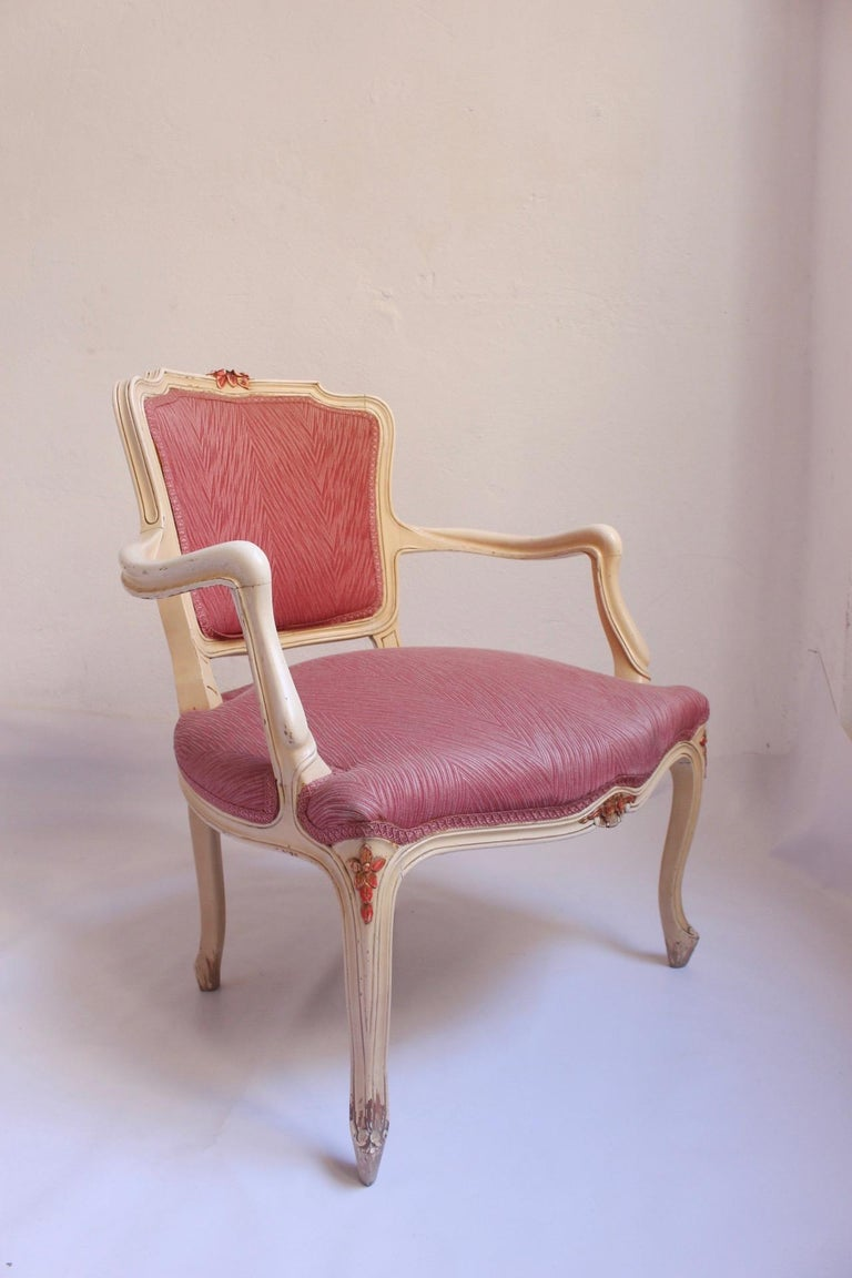 Midcentury Louis XV Style Neoclassical Hollywood Regency, Settee & Chairs, 1950s For Sale 12