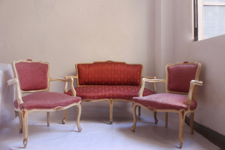 Midcentury Louis XV Style Neoclassical Hollywood Regency, Settee & Chairs, 1950s For Sale 13