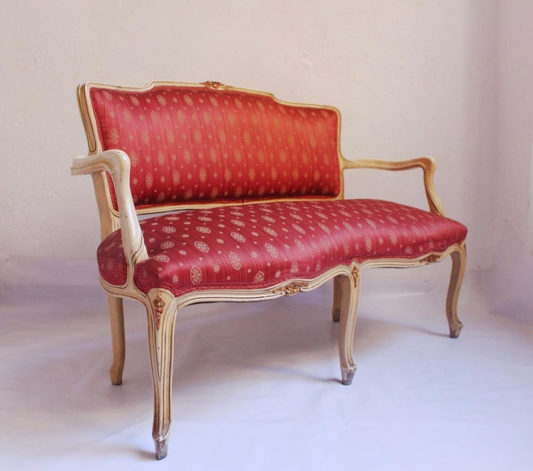 Midcentury Louis XV Style Neoclassical Hollywood Regency, Settee & Chairs, 1950s In Good Condition For Sale In Valencia, Valencia