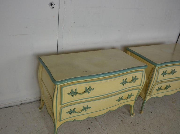 Pair of Louis XV style nightstand. Two drawers with brass pull.