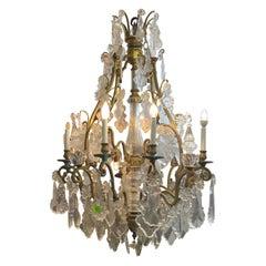 Louis XV Style Ormolu and Crystal Eight-Light Chandelier