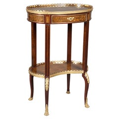 Louis XV-Style Ormolu-Mounted Inlaid Tulipwood and Mahogany Galleried Oval Table