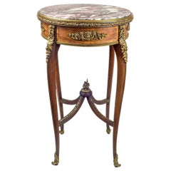 Louis XV Style Ormolu Mounted Parquetry Kingwood and Tulipwood Marble Top Table