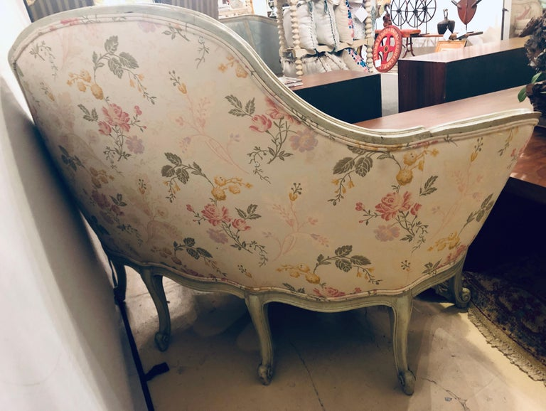 Louis XV Style Paint Decorated Settee / Loveseat Tufted in a Swedish Fashion 3