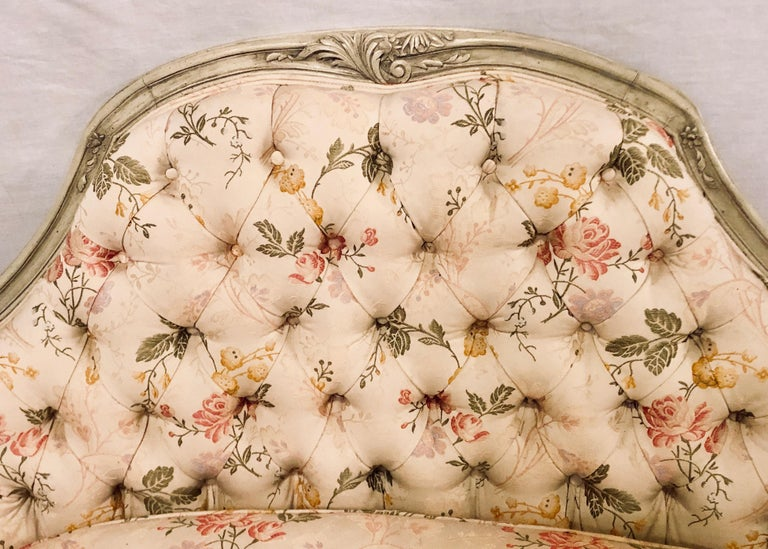 French Louis XV Style Paint Decorated Settee / Loveseat Tufted in a Swedish Fashion