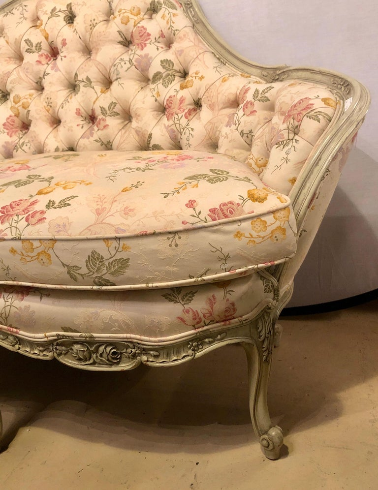 Woodwork Louis XV Style Paint Decorated Settee / Loveseat Tufted in a Swedish Fashion