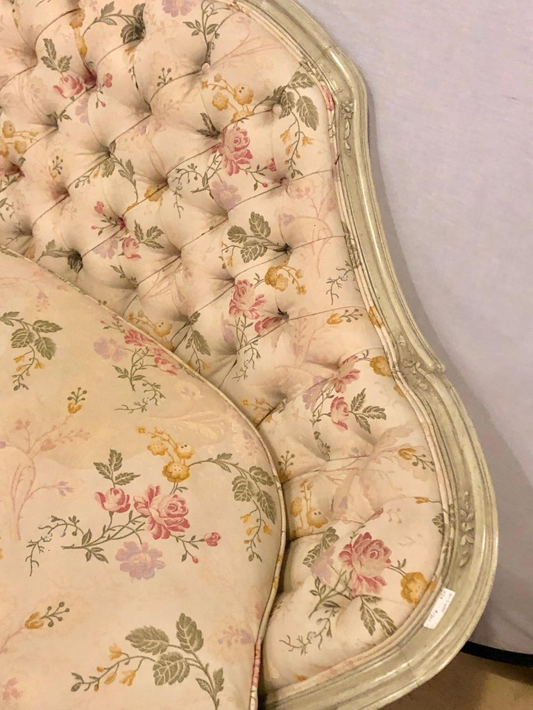 20th Century Louis XV Style Paint Decorated Settee / Loveseat Tufted in a Swedish Fashion