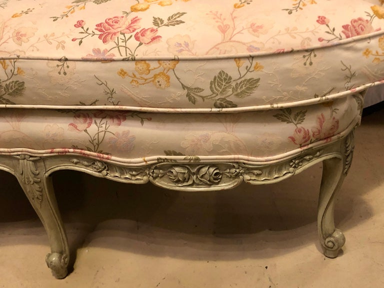 Fabric Louis XV Style Paint Decorated Settee / Loveseat Tufted in a Swedish Fashion