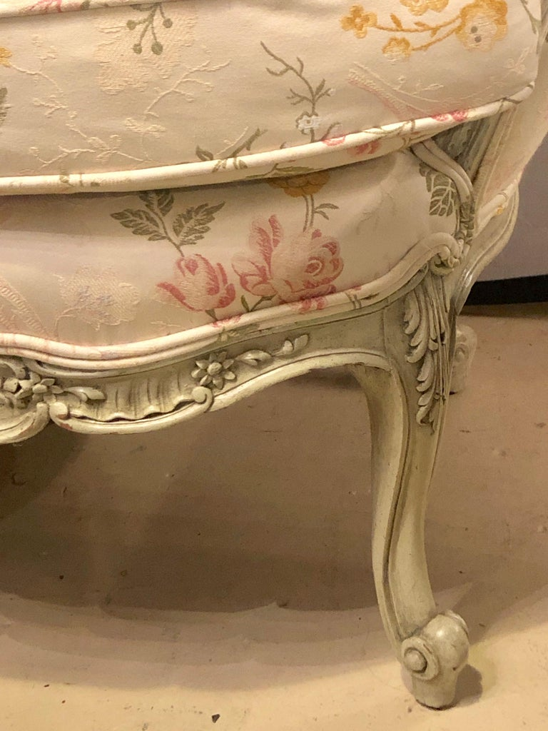 Louis XV Style Paint Decorated Settee / Loveseat Tufted in a Swedish Fashion 1