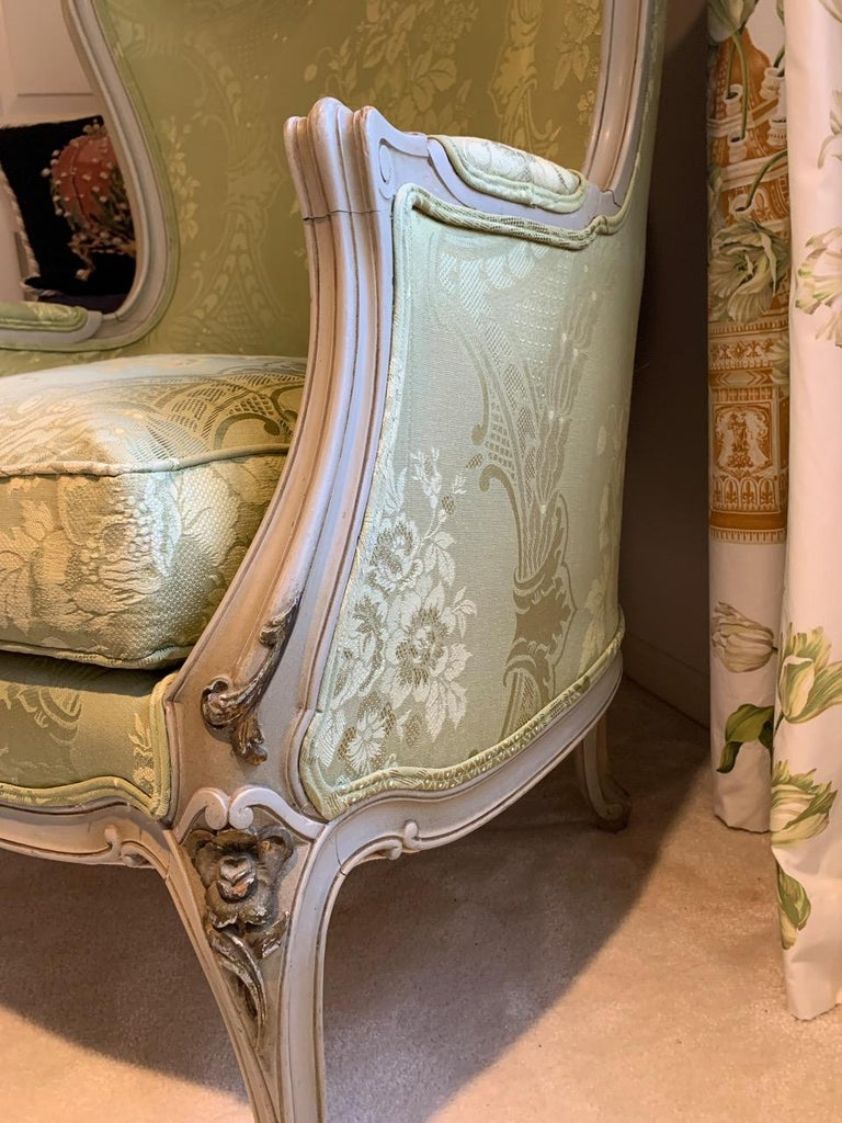 Louis XV Style Painted Gilt Beechwood and Upholstered Bergère Chair For Sale 5