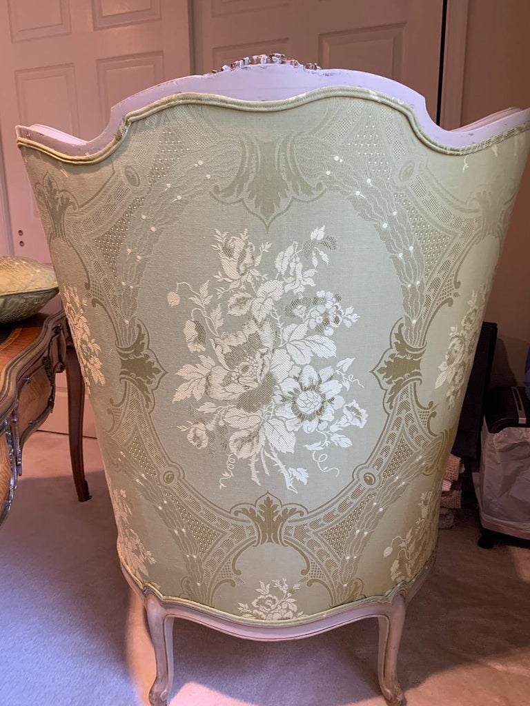 Louis XV Style Painted Gilt Beechwood and Upholstered Bergère Chair For Sale 2