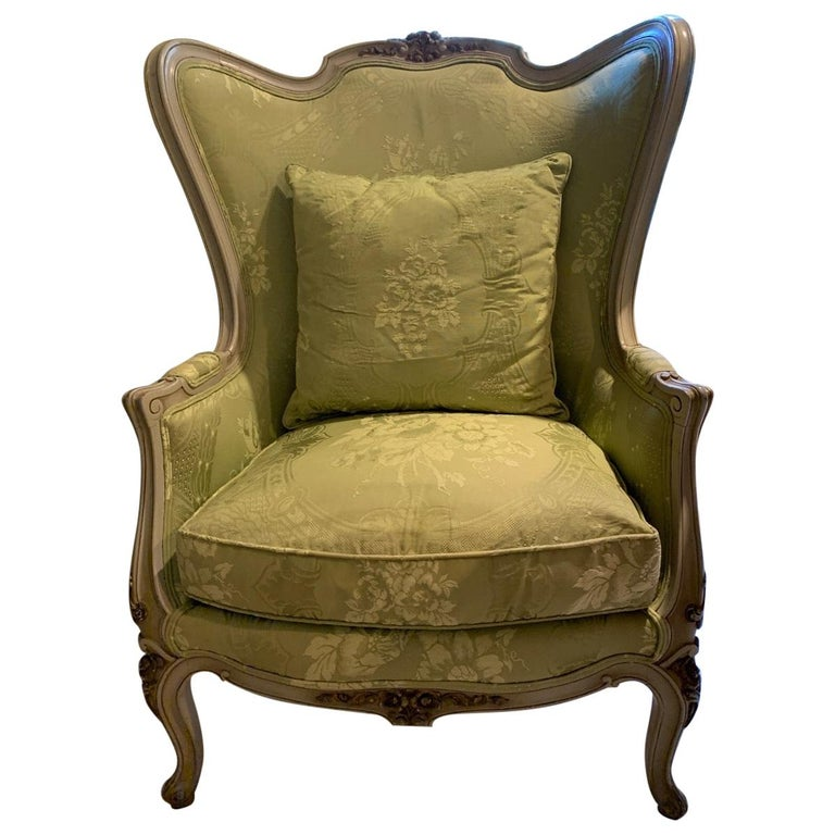 Louis XV Style Painted Gilt Beechwood and Upholstered Bergère Chair For Sale