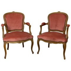Louis XV Style Pair of Cabriolet Armachair with Pink Velvet, 19th Century