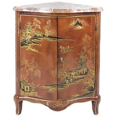 Louis XV Style Red Lacquered Corner Cabinet with Chinese Decor, 20th Century