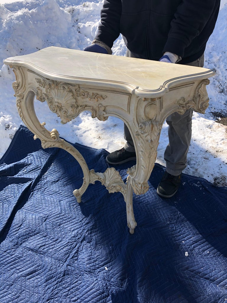 French Louis XV Style Relief Carved Antiqued Ivory Painted Parcel-Gilt Console Table For Sale