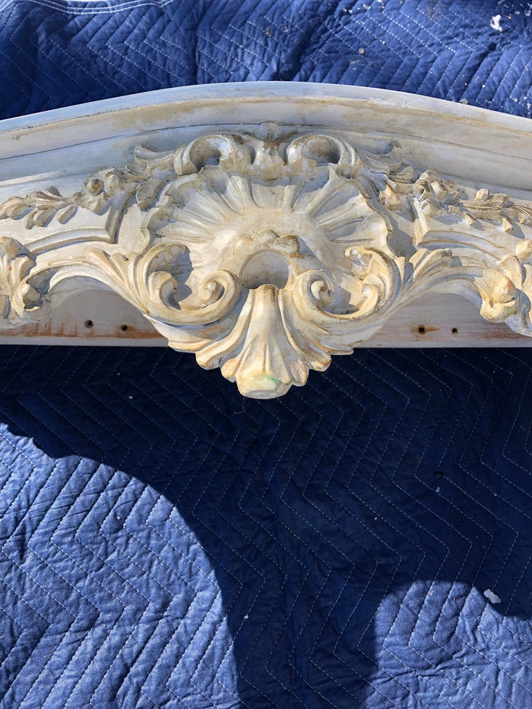 Louis XV Style Relief Carved Antiqued Ivory Painted Parcel-Gilt Console Table For Sale 3
