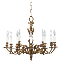 Louis XV Style Rococo 10-Light Bronze Chandelier, Late 1800s