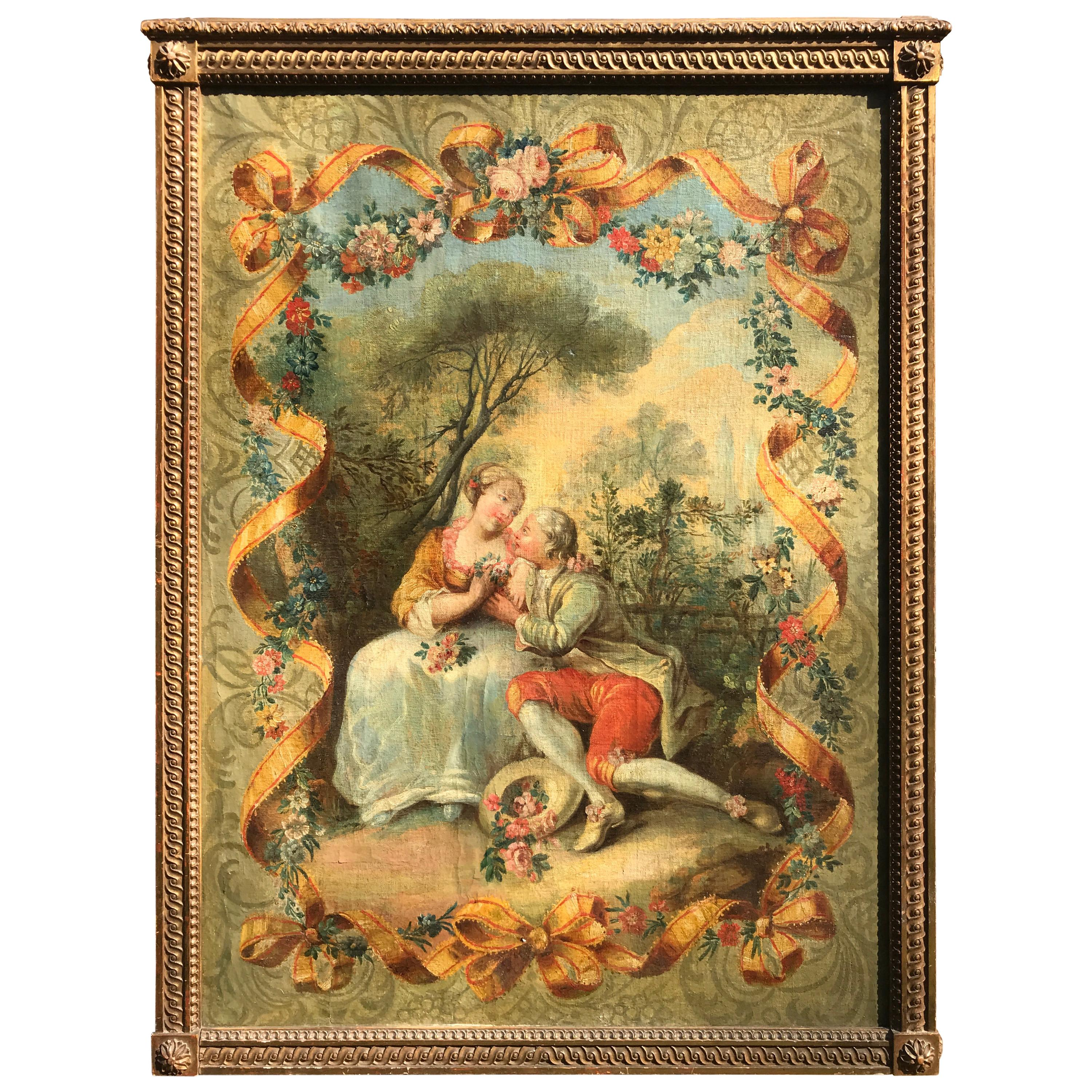 Large Louis XV Style Rococo Large Painting Manner of Boucher French School