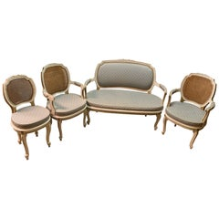 Louis XV Style Salon Four Piece, Pair Armchairs, Settee and Side Chair, Painted