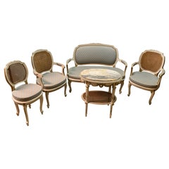 Louis XV Style Salon Set, Table, Pair Armchairs, Settee and Side Chair, Painted