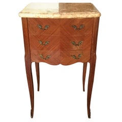 Louis XV Style Satinwood Night  Stand with Marble Top