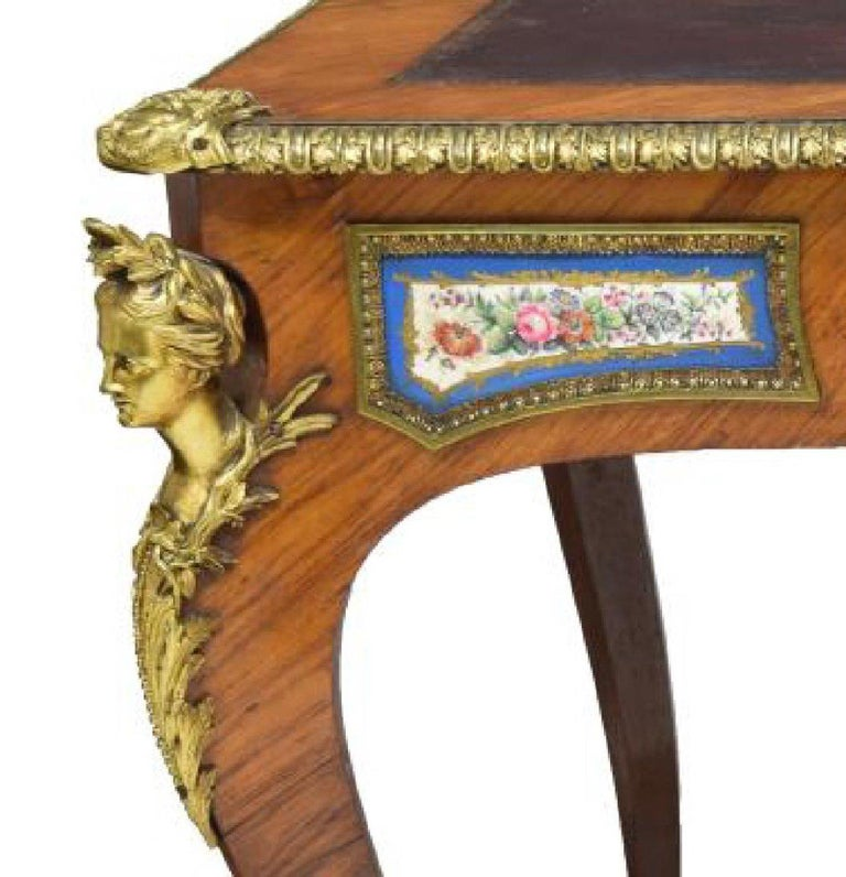 Louis XV Style Sèvres Mounted Bureau Plat, 19th Century In Good Condition For Sale In Cypress, CA
