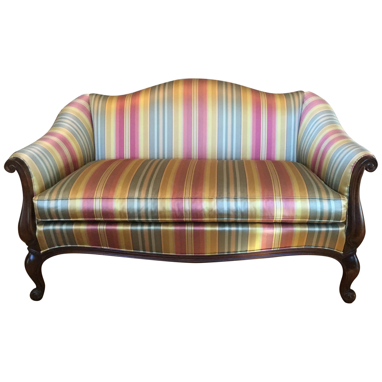 Louis XV Style Silk/Satin Stripe Settee