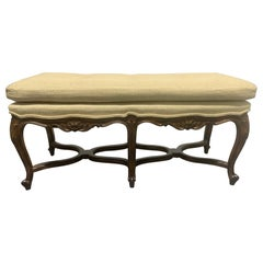 Louis XV Style Six-Leg Walnut Tufted Bench