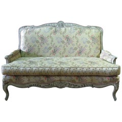 Early 1900s Painted Carved French Louis XV Style Settee Sofa Couch