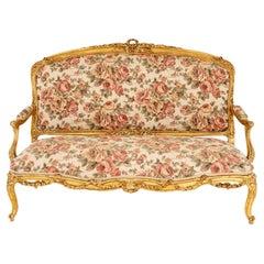 Louis XV Style Sofa in Giltwood, circa 1880