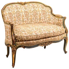 Louis XV Style Sofa in Green Lacquer and Giltwood, circa 1880