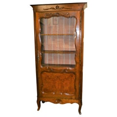 Louis XV Style Solid Walnut Display Cabinet with Glass Door, France, circa 1920