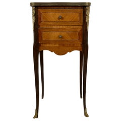 Louis XV Style Stand, End Table or Lamp Table, Marble Top Diminutive Two Drawer