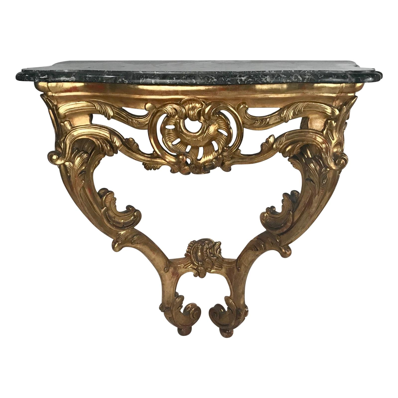 Louis XV Style Table a Console with Marble Top