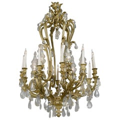 Louis XV Style Twelve-Light Rock Crystal and Gilt-Bronze Chandelier, circa 1850
