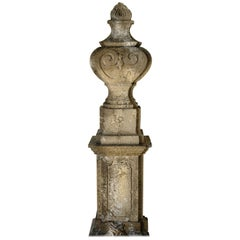 Louis XV Style Urns and Pedestals 'Pair' in Limestone from France