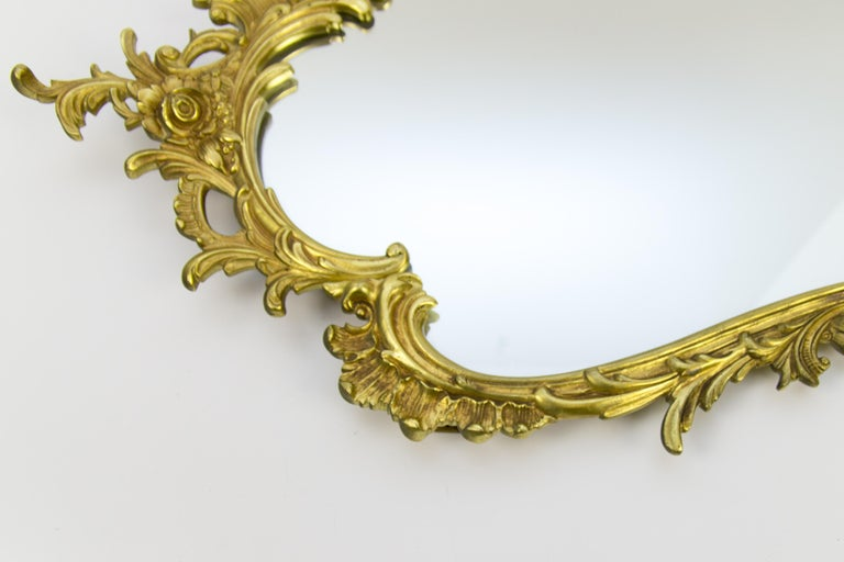 French Louis XV Style Wall Mirror in Bronze For Sale