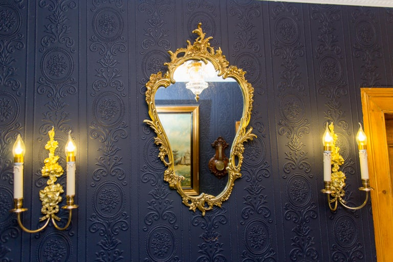 Louis XV Style Wall Mirror in Bronze For Sale 3