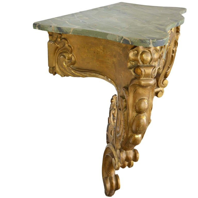 European Louis XV Style Wall Mounted Console Gilded Wood Faux Marble Top For Sale