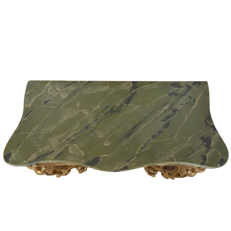 Hand-Painted Louis XV Style Wall Mounted Console Gilded Wood Faux Marble Top For Sale