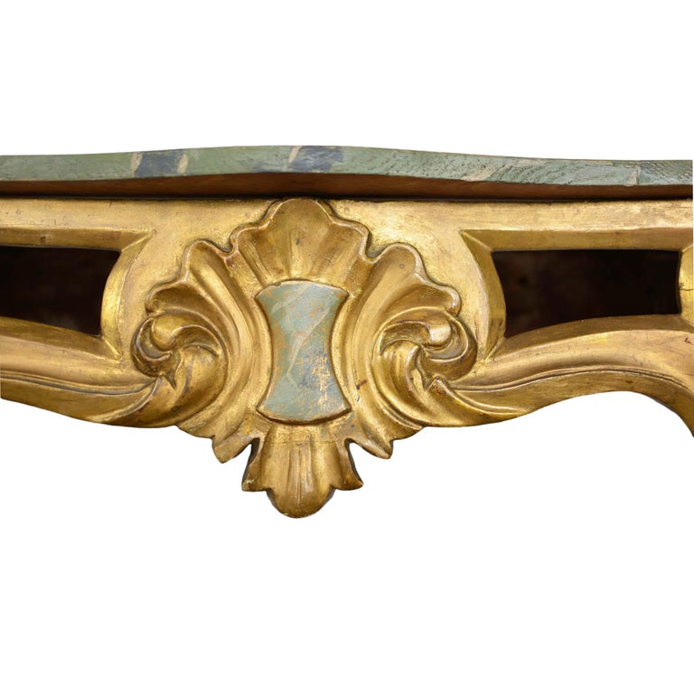 20th Century Louis XV Style Wall Mounted Console Gilded Wood Faux Marble Top For Sale