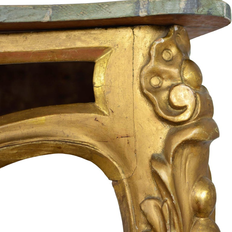 Louis XV Style Wall Mounted Console Gilded Wood Faux Marble Top For Sale 1