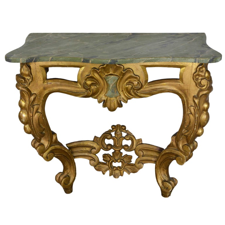 Louis XV Style Wall Mounted Console Gilded Wood Faux Marble Top For Sale 3