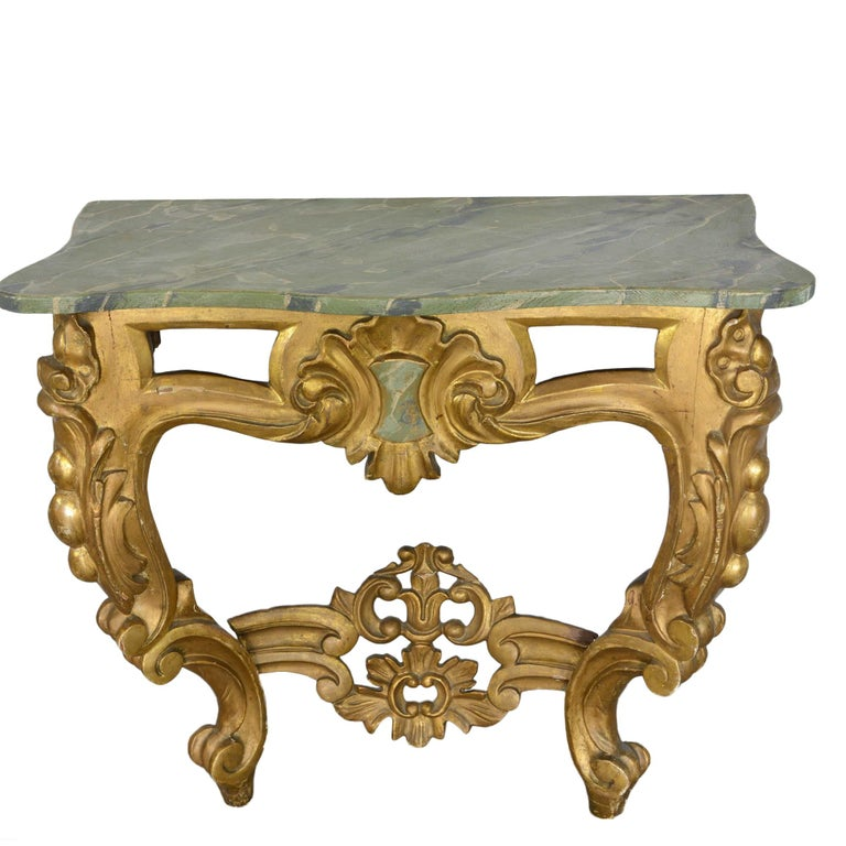 Louis XV Style Wall Mounted Console Gilded Wood Faux Marble Top For Sale